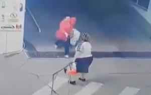 坂道で止まれずに衝突する女性