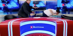 ジョージアのテレビ番組で大ゲンカ