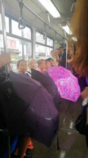 バスで雨漏りしてたので傘で対応