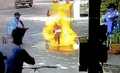 バイクの消毒で炎上
