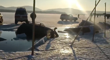 恐怖!氷が割れて水没する車