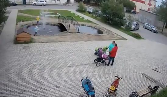 公園の池に落ちた子どもを救助