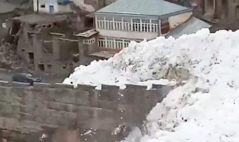 村を飲み込む巨大雪崩